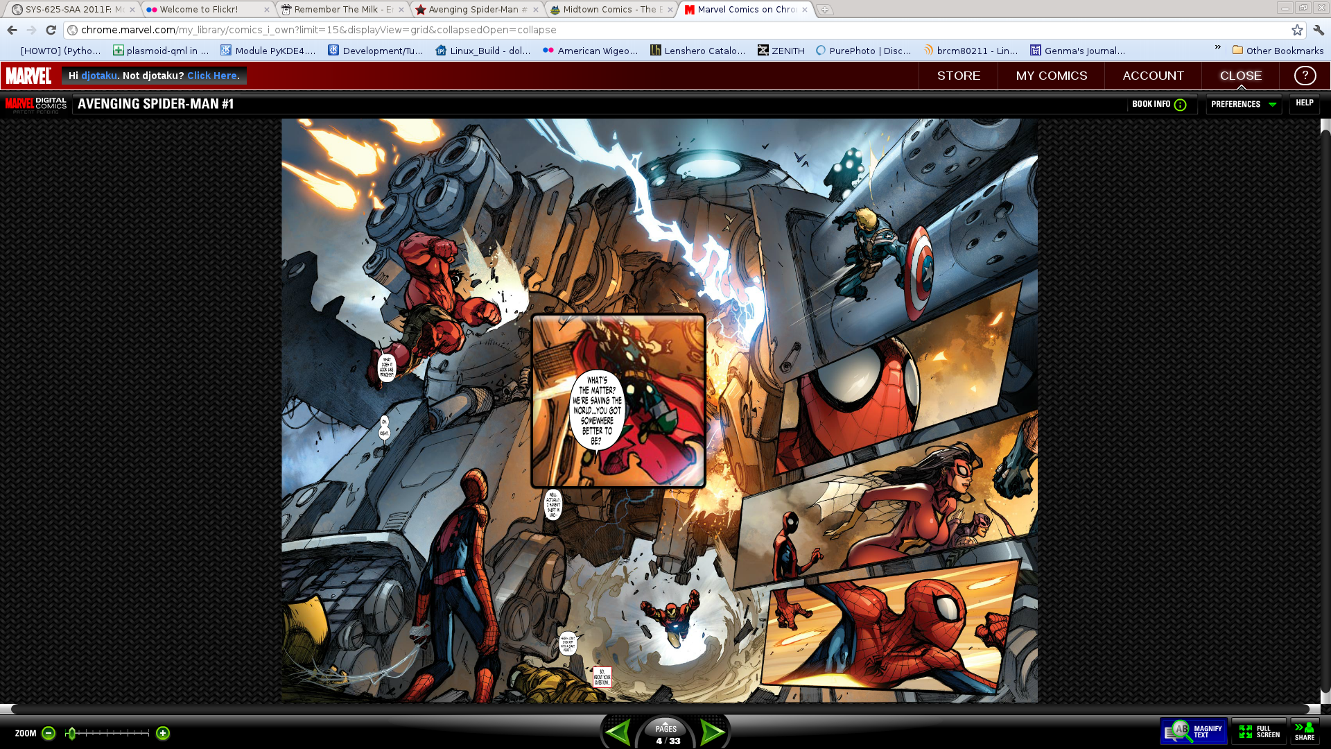 Marvel Comic App - using the magnifying option