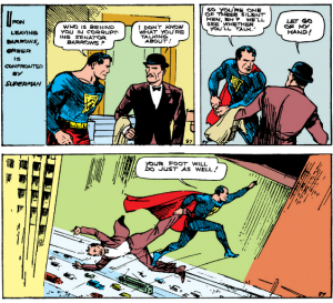 Action Comics Vol 1 #1 - Superman is a jerk to shady political types