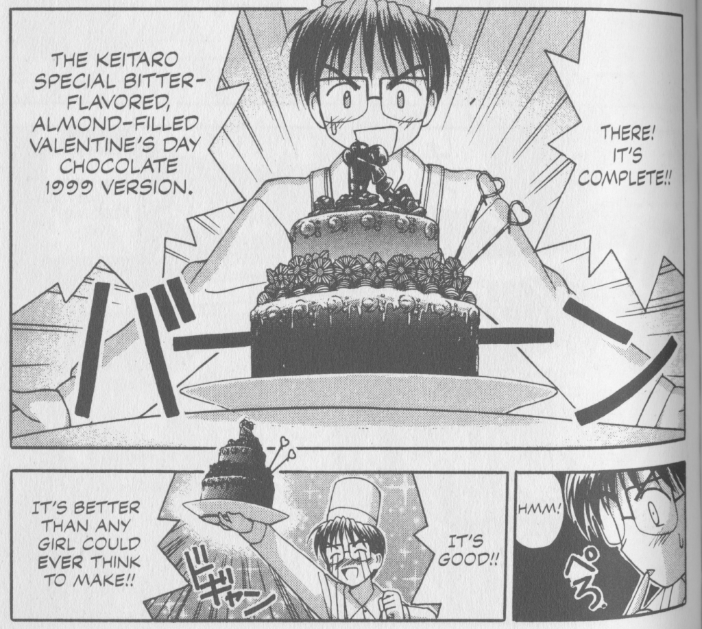 Love Hina Book 2 - Keitaro makes a better cake than any girl could ever make