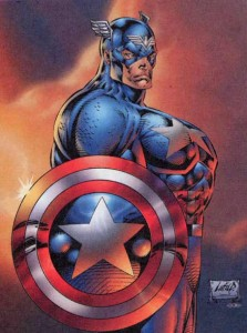 bizzarely proportioned drawing of Captain America