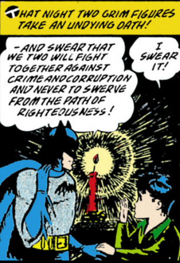 Batman Vol 1 #38 - ...therefore, of course it makes sense for both of them to fight crime together...(um? ok)