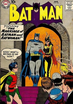 Batman marries Batwoman - could Dick's thoughts be any better ammo for the gay theory? Sheesh!