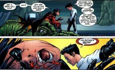 Damian Wayne hits Tim Drake