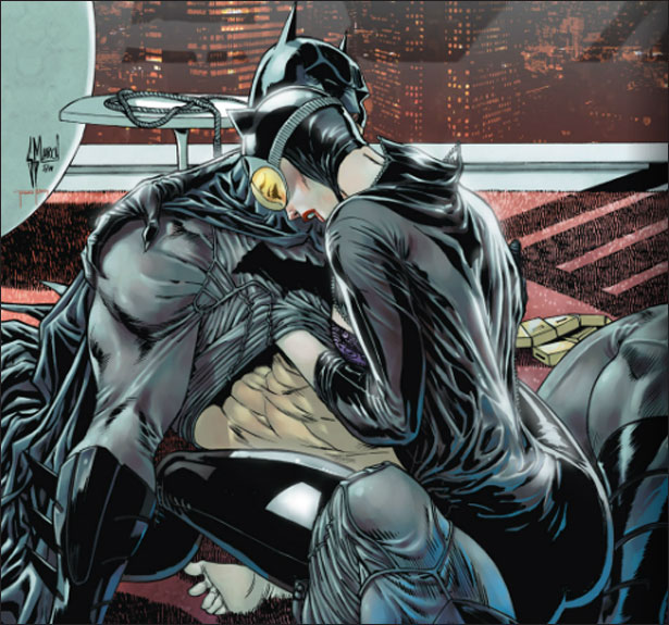 Catwoman and Batman have sex with their clothes on