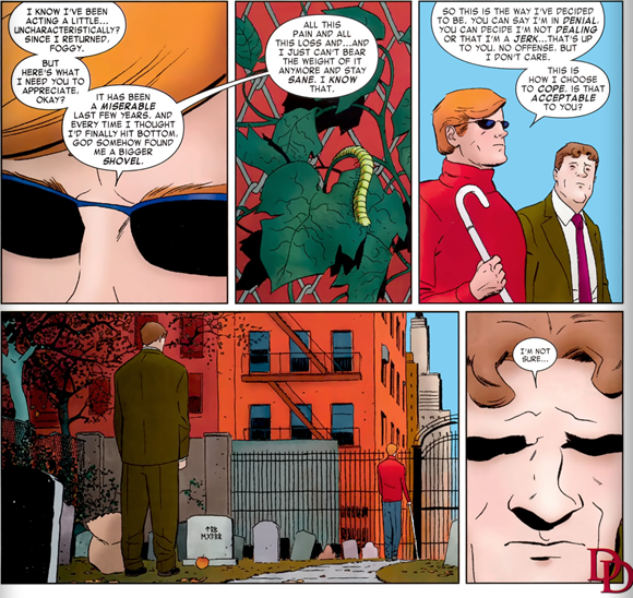 Daredevil v.3 #1: Matt explains his new coping methods.
