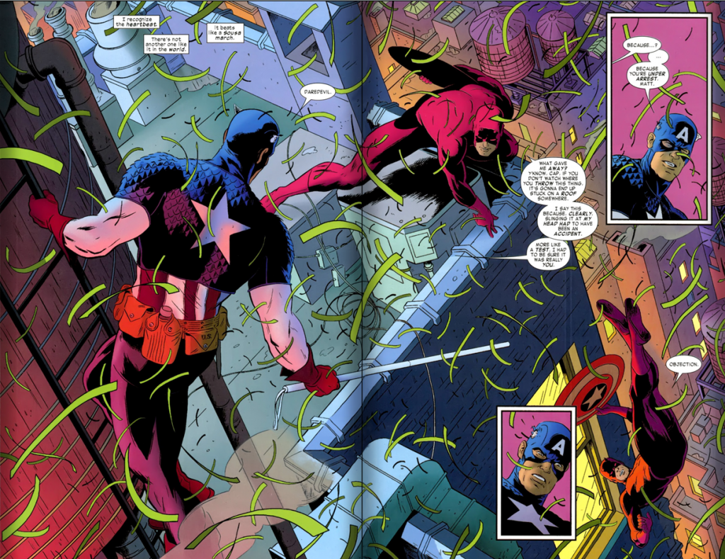 Daredevil v3 #2: Captain America tries to arrest Daredevil. With confetti.
