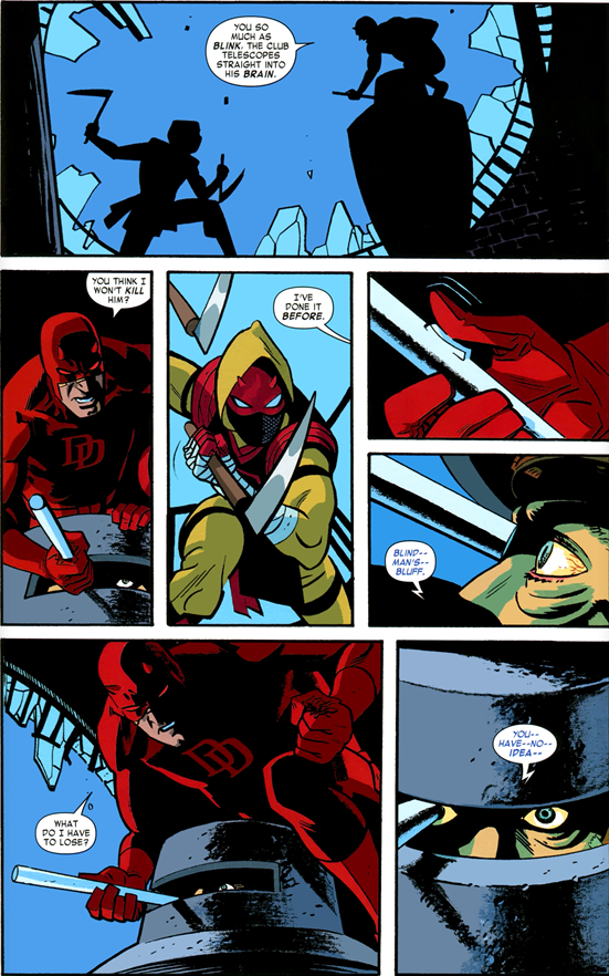 Daredevil v3 #27: Daredevil threatens to kill Bullseye again.