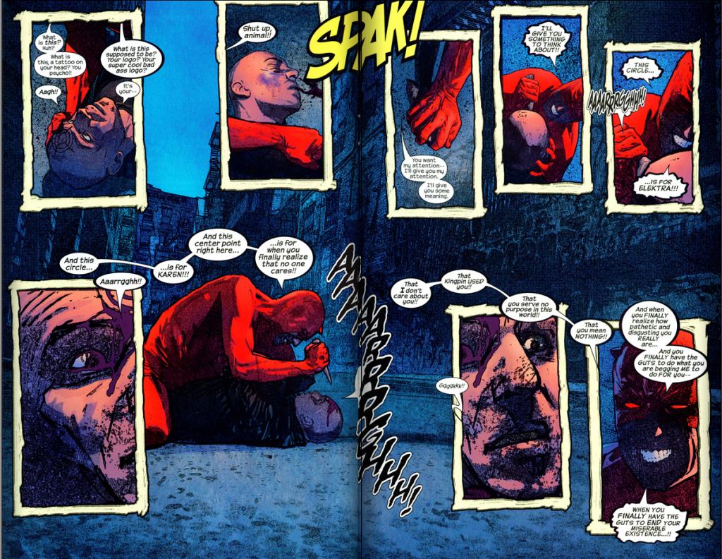 Daredevil v2 #49 – Daredevil carves a target.