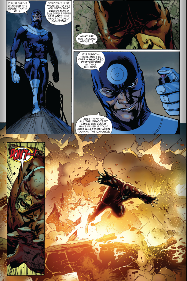 Dark Reign: The List – Daredevil: Bullseye taunts Daredevil.