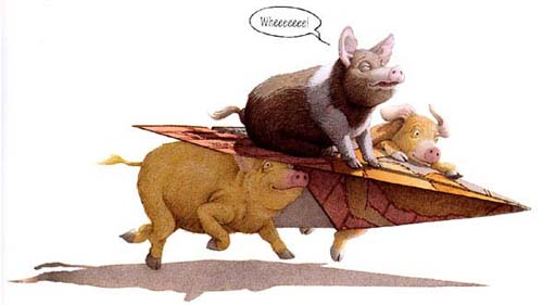 Three Little Pigs by David Wiesner: The pigs folded up a page of the story into a paper airplane, and are riding it to a point later in the story.