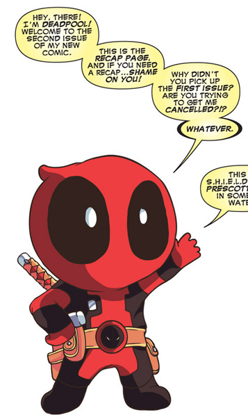 Deadpool v4 #2: Let Chibi Deadpool tell you what's going on. Also, he's going to mock you a little.