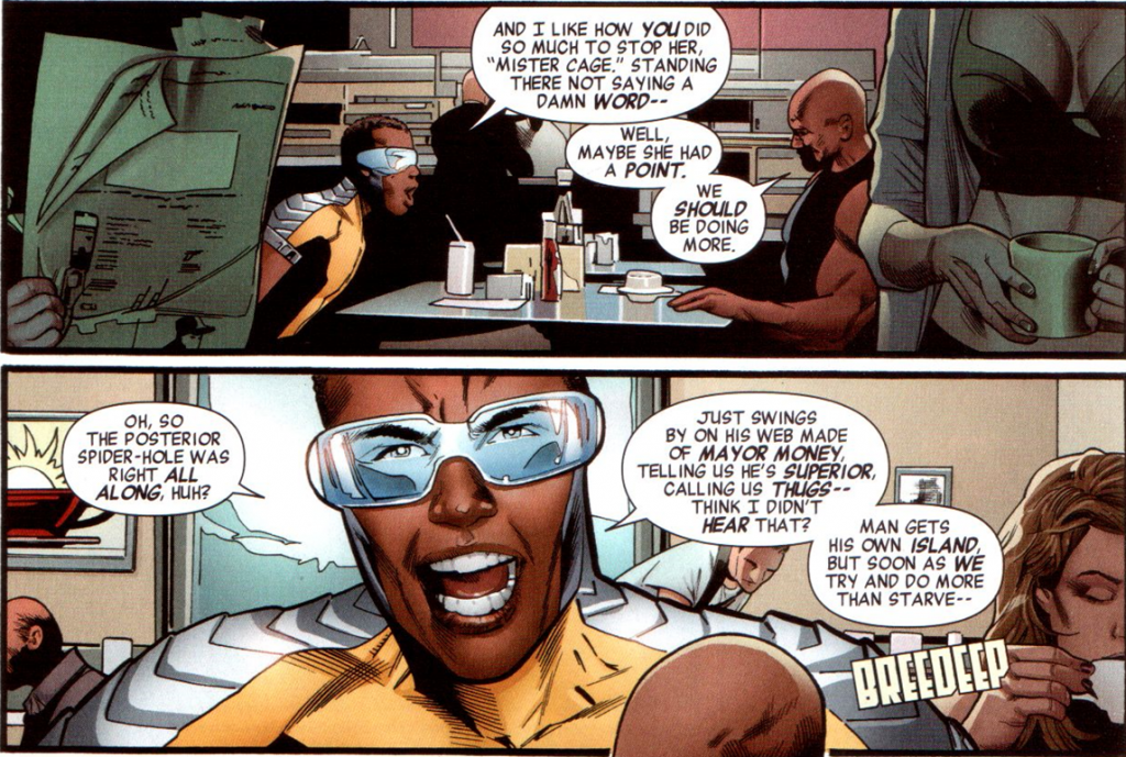 Mighty Avengers v2 #1: Victor thinks Spider-Man is a hypocrite.