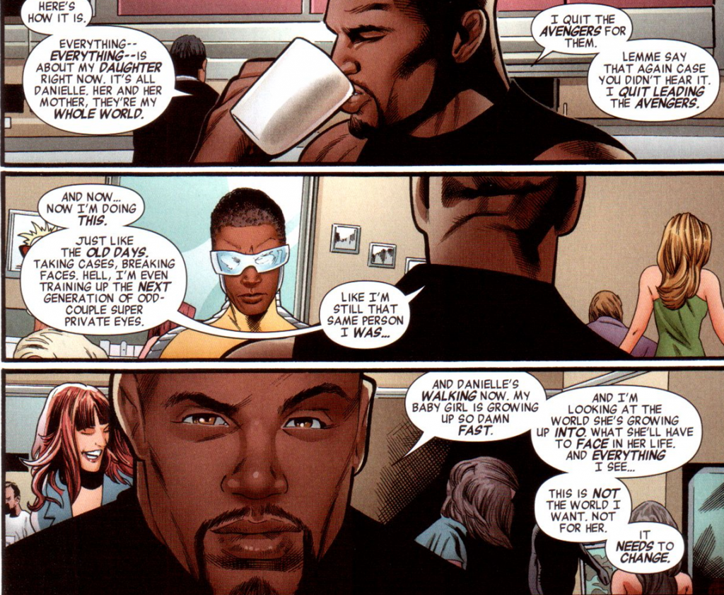 Mighty Avengers v2 #1: Luke Cage wants to make the world better for his daughter.
