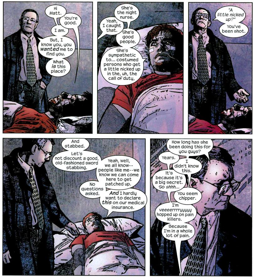 Daredevil v2 #58: Matt Murdock explains the Night Nurse.