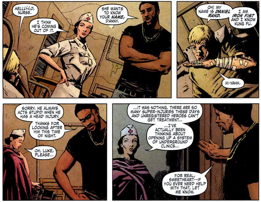 The Immortal Iron Fist #2: The Night Nurse treats Iron Fist.