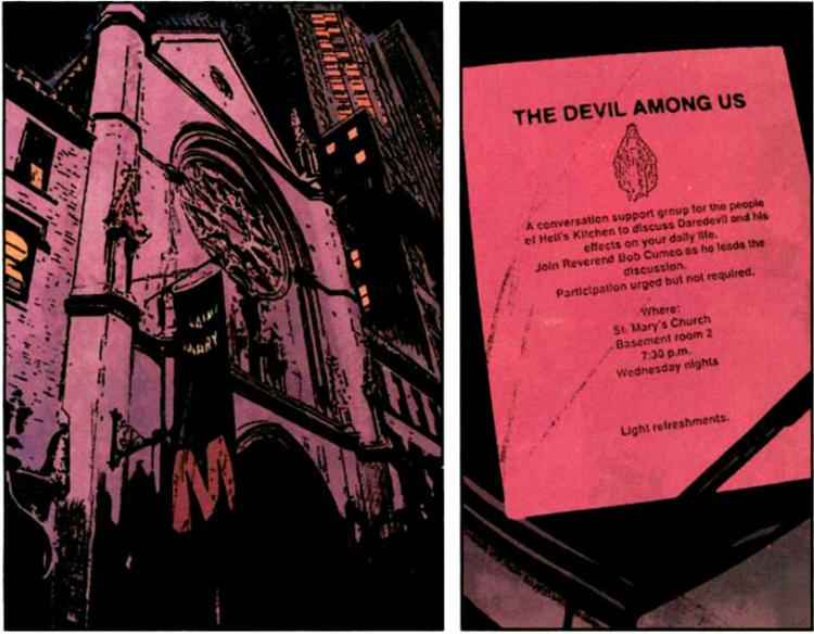 Daredevil v2 #71: Daredevil support group notice.