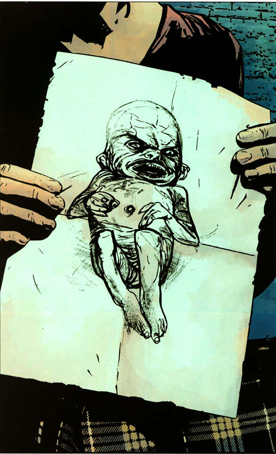 Daredevil v2 #73: A drawing of the demon baby.