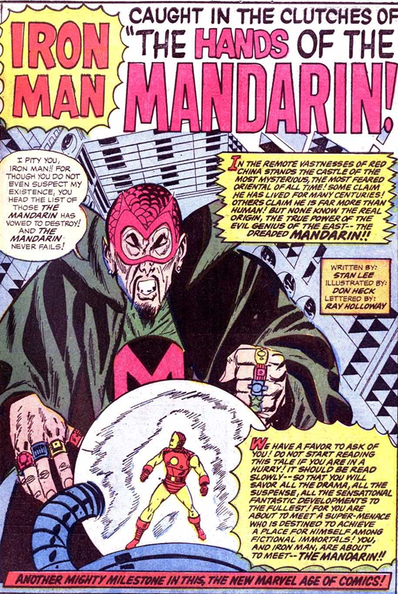 Tales of Suspense #50: The Mandarin's first appearance.