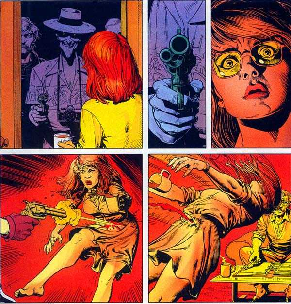 The Killing Joke: Barbara is shot through the spine by Joker thugs.