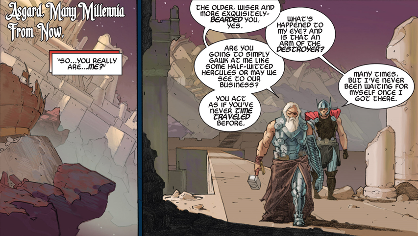 "Thor: God of Thunder #7: Thor meets his ""exquisitely bearded"" future self."