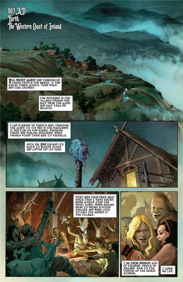 Thor: God of Thunder #1: The first page shows us young Thor in all his glory.