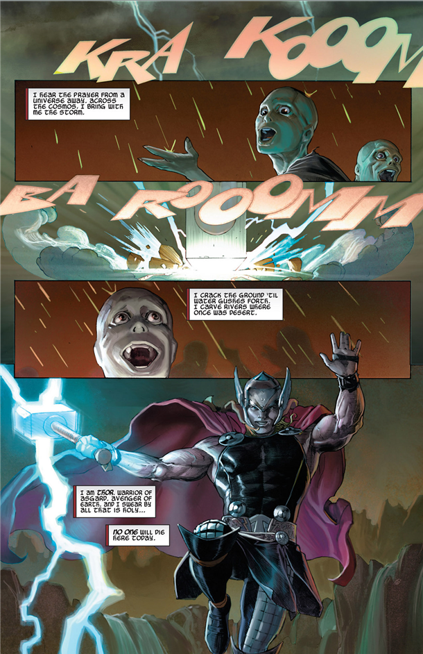 Thor: God of Thunder #1: Thor answers prayers.