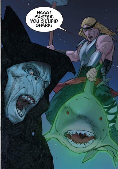 Thor: God of Thunder #9: Thor rides a space shark. Yeah.