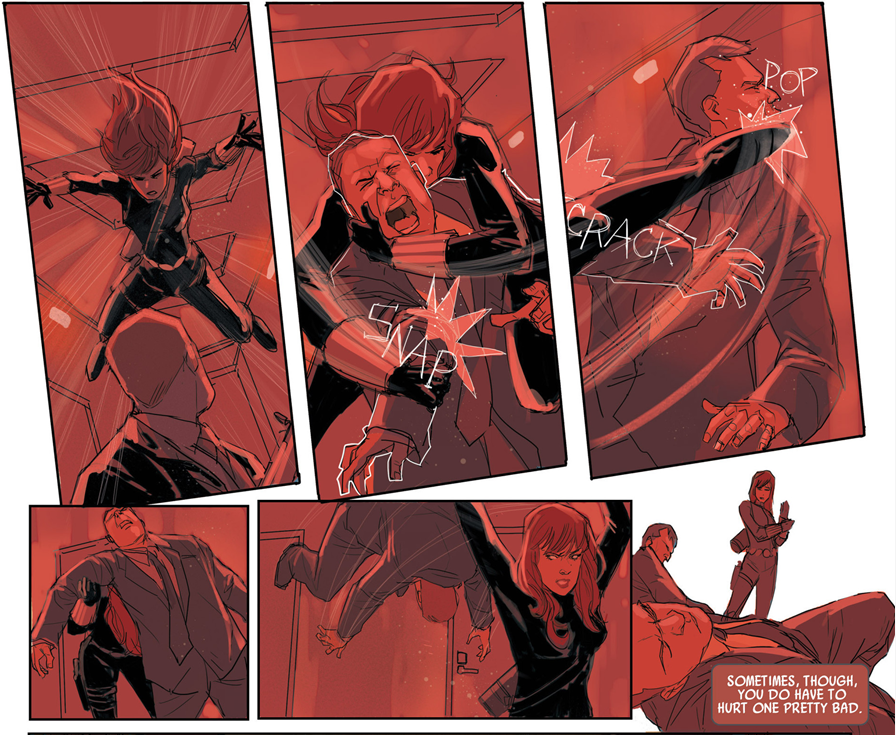 Black Widow #1: The action layouts are well done.