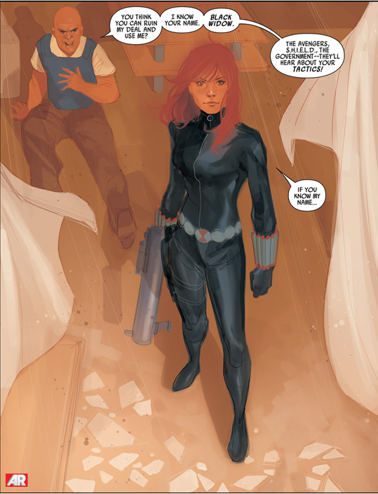 Black Widow #1: Strong poses avoid objectifying Natasha.