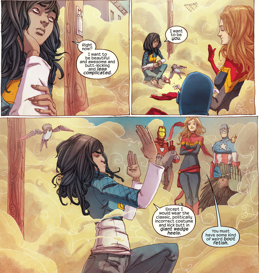 Ms. Marvel #1: Kamala may have a boot fetish.