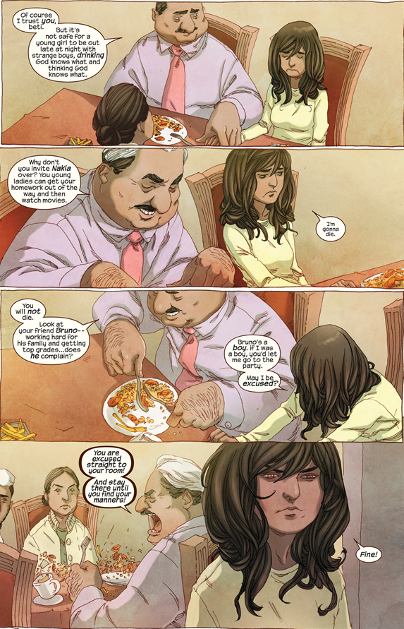 Ms. Marvel #1: Kamala calls her dad on his unfairness.