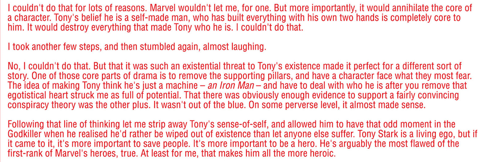 Iron Man #17: The author's note where Kieron Gillen explained that neither he nor Marvel would have ever changed Tony's origin for real. It was a bit too late for me to keep the title on my pull list though.