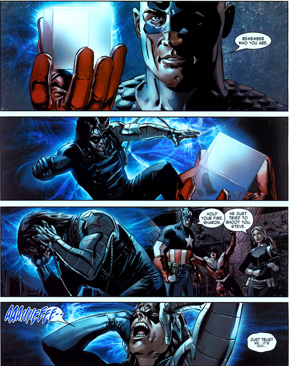 Captain America v5 issue #14 – Cap restores Bucky's memories.