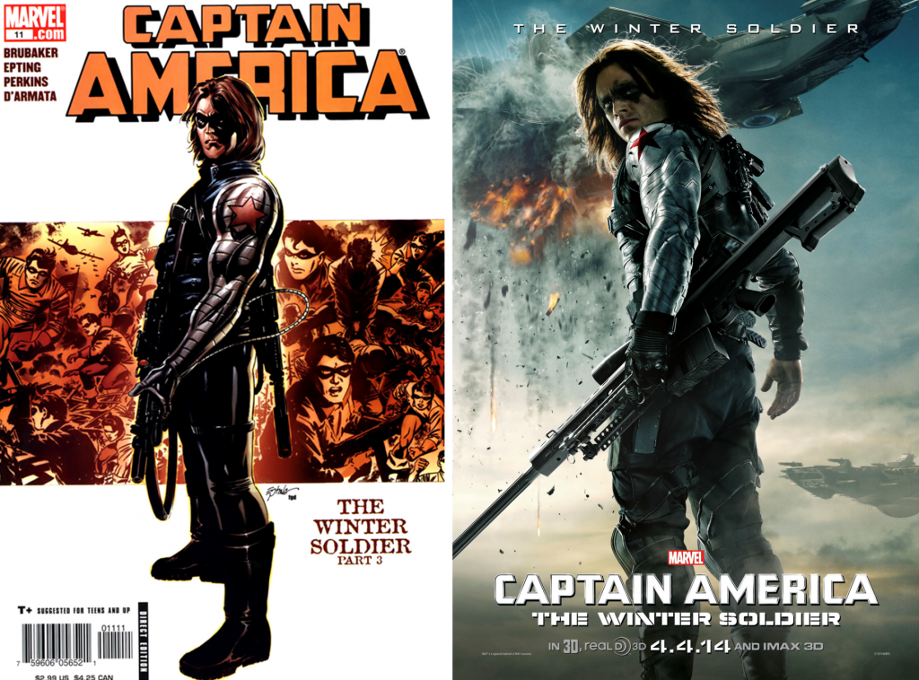 Captain America v5 issue #11 cover and a Captain America: The Winter Soldier poster.