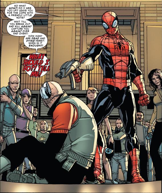 Superior Spider-Man issue 5 – Otto kills Massacre to prevent future massacres.