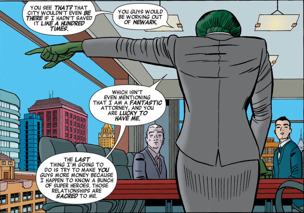 She-Hulk v3 issue #1 – Jennifer Walters refuses to be used and disrespected.