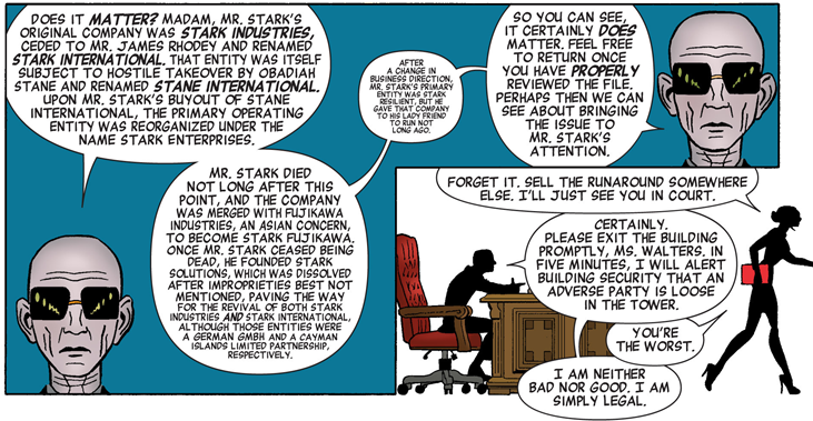 She-Hulk v3 issue 1 – That's a lot of text, but it is a very amusing outline of Tony Stark's business history.