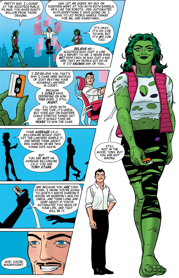 She-Hulk v3 issue #1 – Tony Stark is right. Jennifer is magnificent.