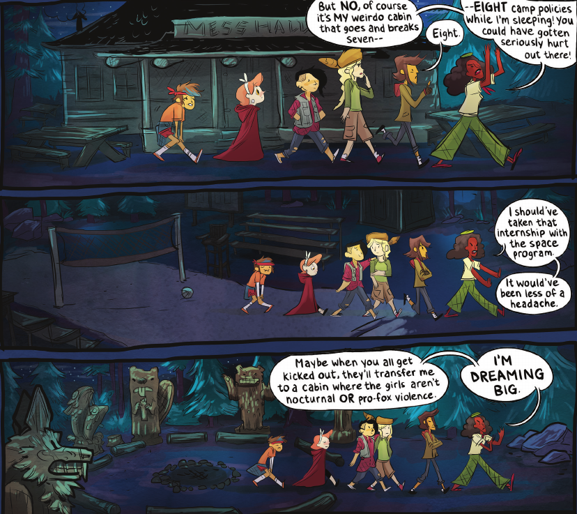 Lumberjanes Vol 1 - Artwork tells a story separate from the dialogue - specifically, look at Mal and Molly