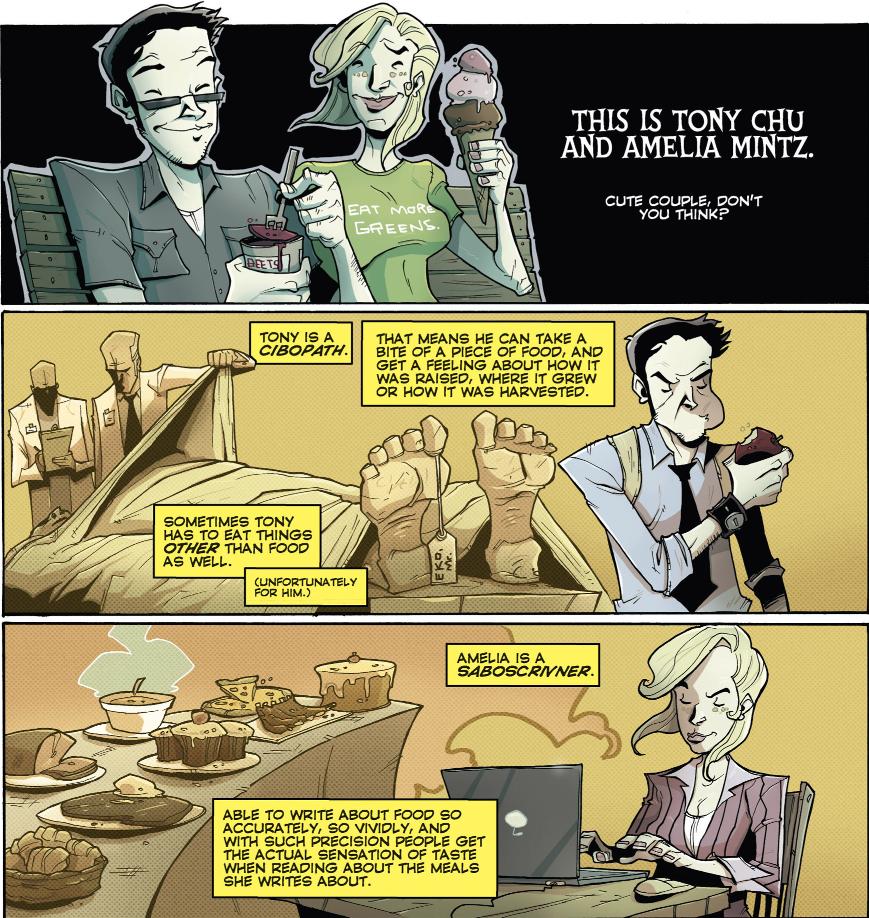 Chew Vol 3 - Tony and Amelia powers intro